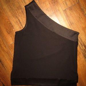 dc3d70301c2 Banana Republic Tops - Banana Republic black satin/crepe one shoulder top